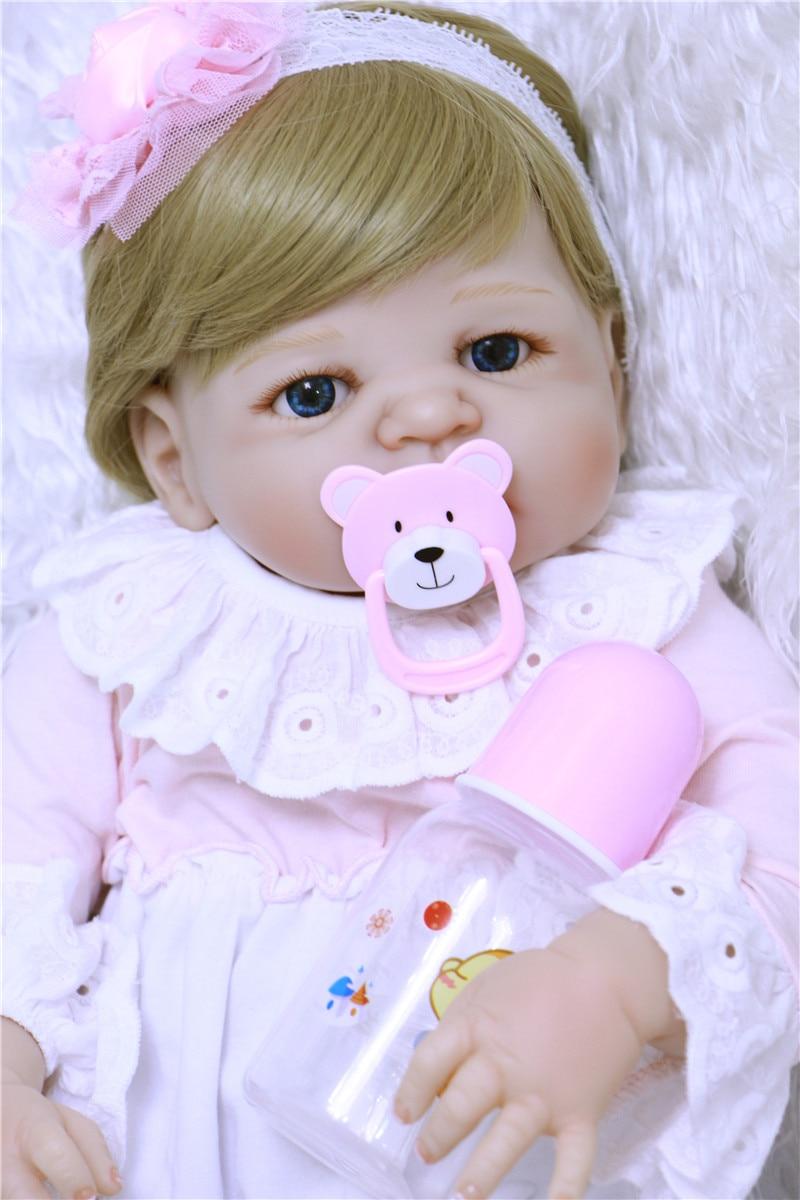 Bebe alive reborn girl gift dolls 22 full silicone reborn dolls blond hair pink dress bear pacifier bonecas reborn de silicone new style girl dolls full silicone reborn dolls with beautiful dress adora dolls bebe reborn de silicone menica