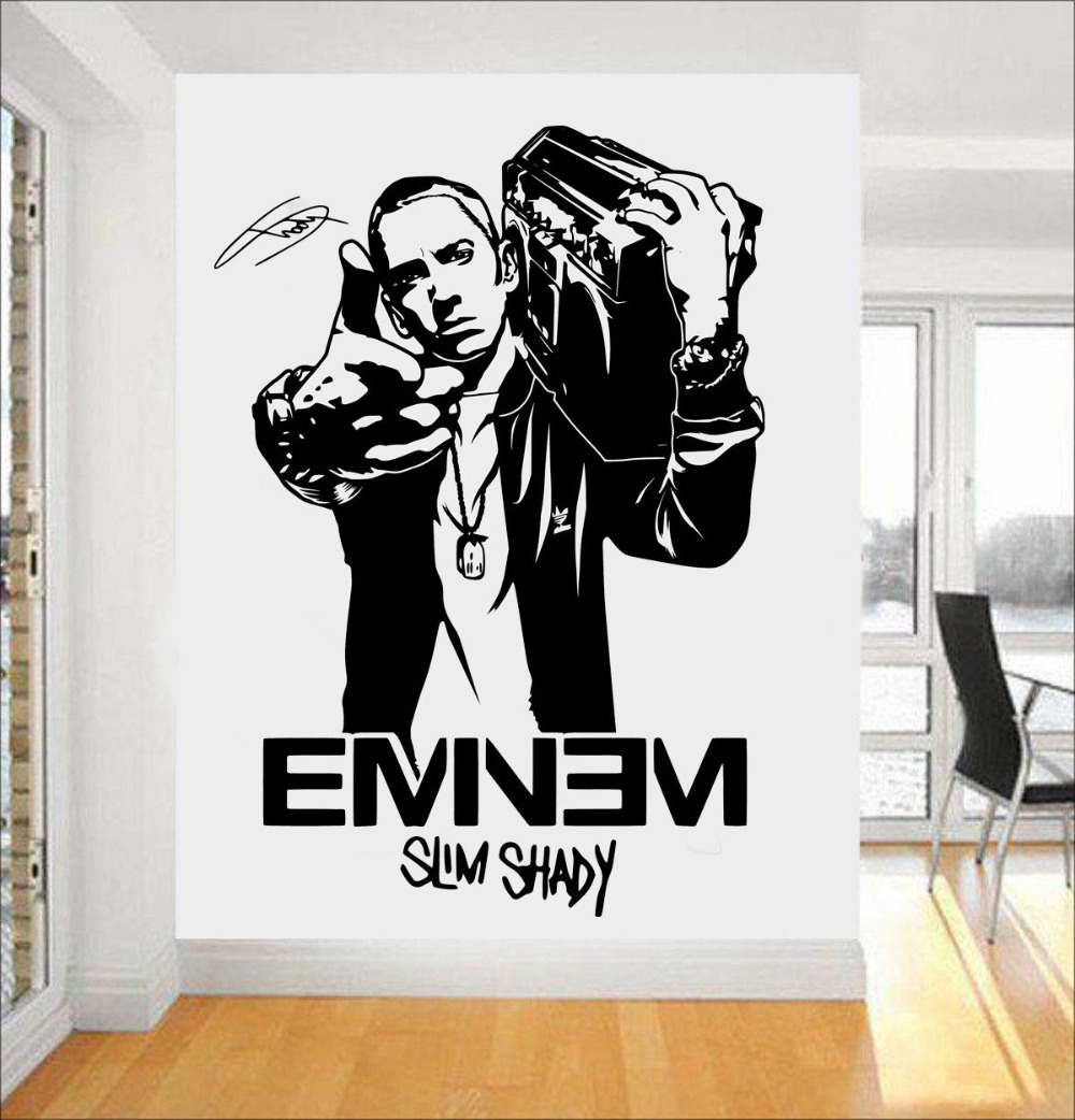 Eminem rapper wall decal stars removable interior fans - Childrens bedroom wall stickers removable ...