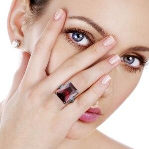Image 2 - خاتم نسائي من الفضة الخالصة 925 من Szjinao خاتم عتيق مربع مرصع بأحجار كريمة من الأوتريشن إدوارد عتيق 2020 مجوهرات