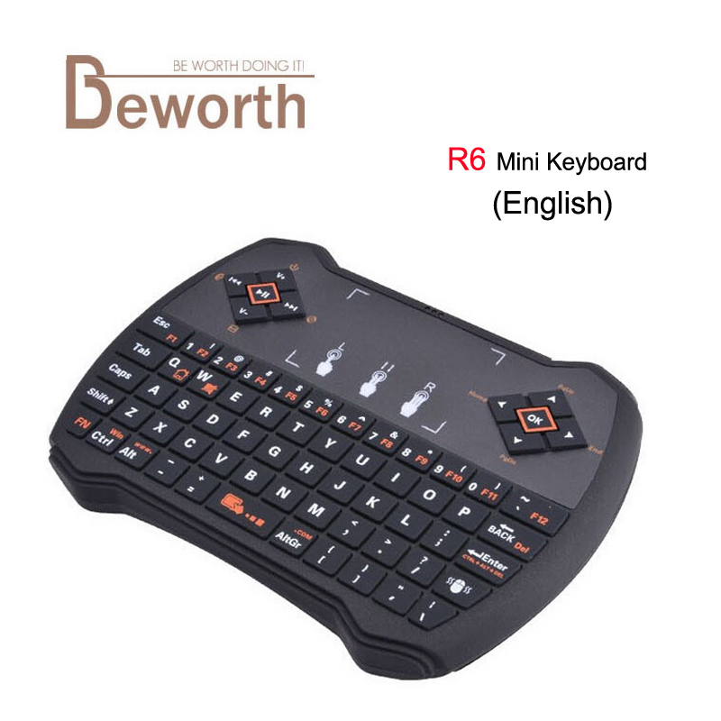 Free DHL Mini 2.4G R6 Wireless Game Keyboard Fly Air Mouse Remote Control with Touchpad for PC Pad Google Andriod TV Box i8 fast free ship for gameduino for arduino game vga game development board fpga with serial port verilog code