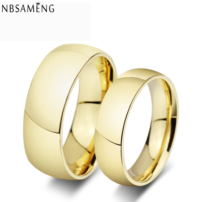 Gold Colour Plated Titanium Steel Wedding Band Tungsten Carbs