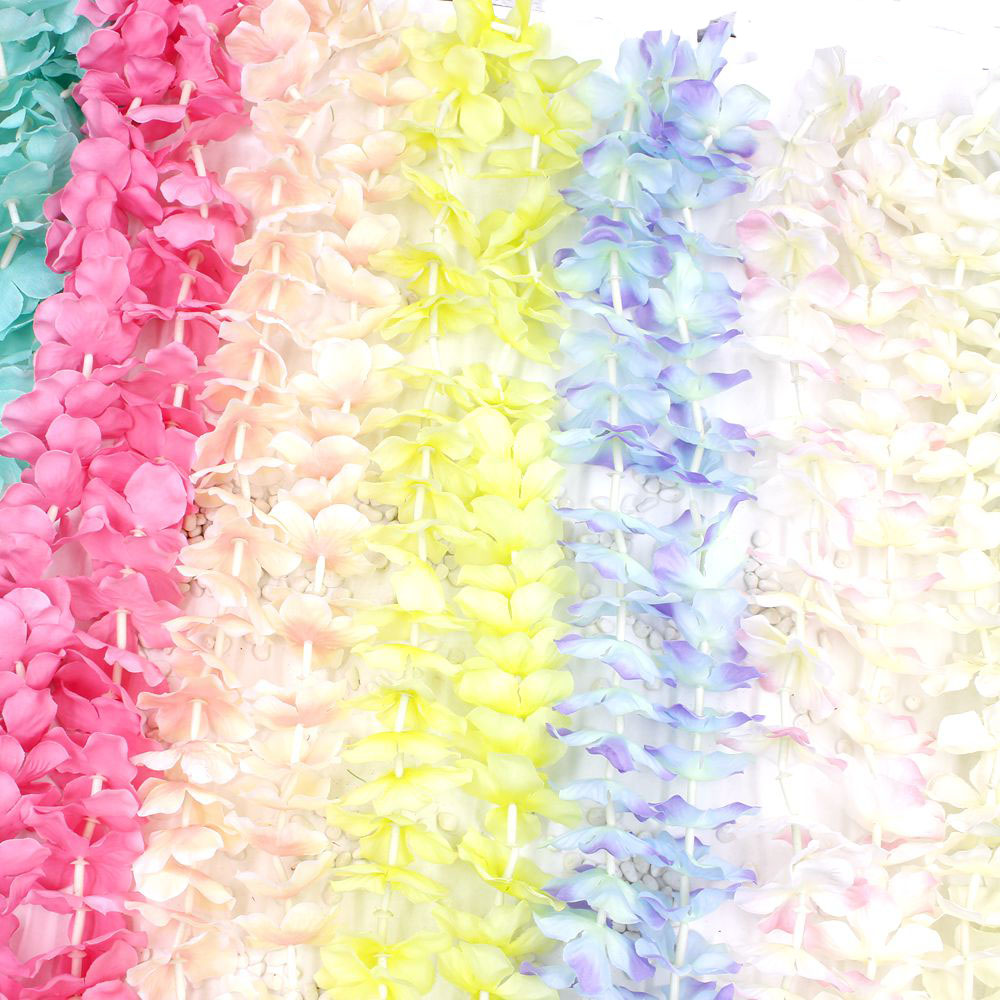 1group Of 80 Flowers Hawaiian Flower Necklace Garland Of Artificial