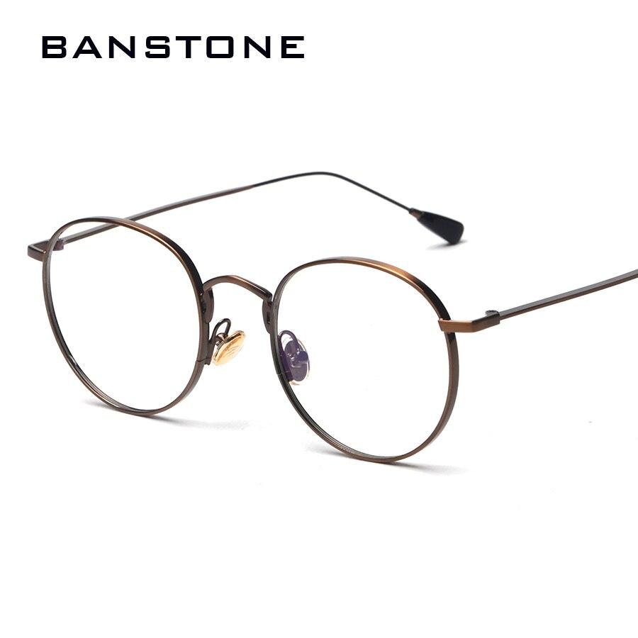 34098be390c BANSTONE Fashion Eyewear Women Frame Glasses Vintage Round Eye Frames Men  Silver Clear Glasses Casual Nerd Glasses