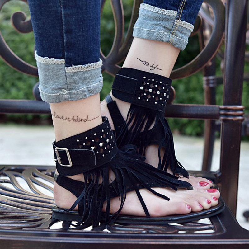 Sandales black Taille Femme brown Beige Fringe Chaussures Mujer Feminina 44 Grande Flip 36 Womensummer Sandalia Flops Chaussure fIZqBBH
