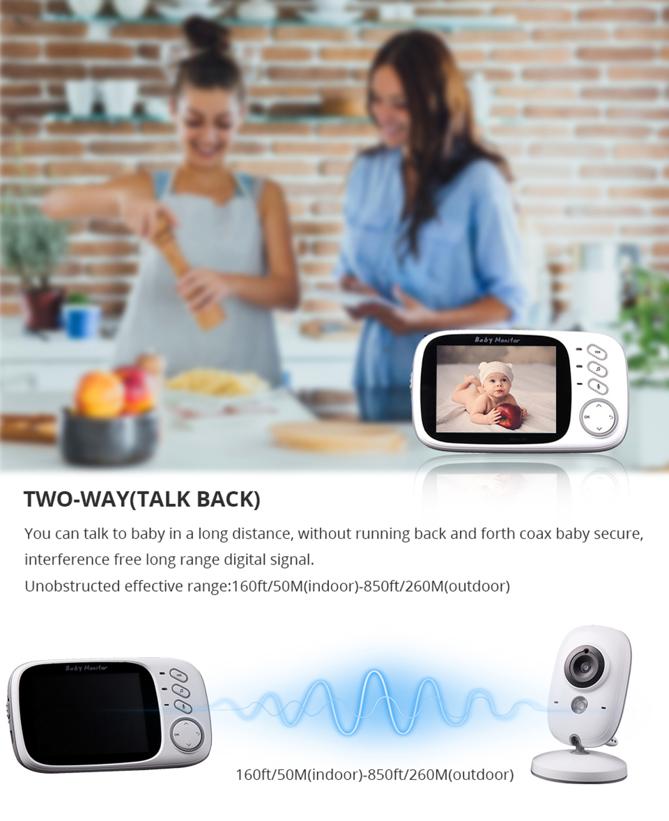 Image 2 - 3.2 Inch Baby Monitor Wireless Video Color Baby Nanny Security Camera Baba Electronic Night Vision Temperature Monitoring VB603-in Baby Monitors from Security & Protection