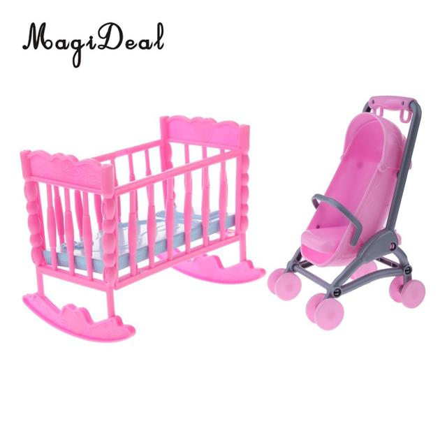 US 4040 40% OFF4040 Pink Dollhouse Miniature Baby Cradle BedStroller Model Furniture Decor For Dolls Accessories Kids Children Pretend Play Toyin Extraordinary Decor For Boys Bedroom Model