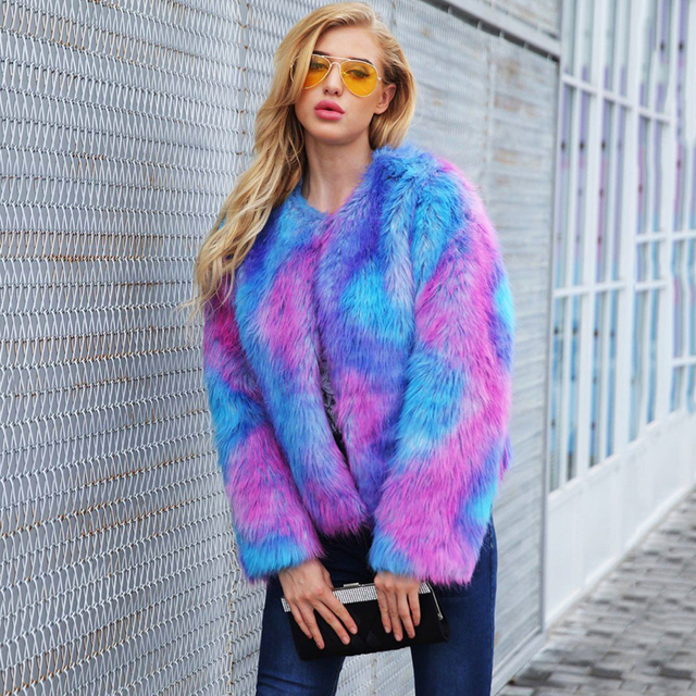 15ff46a2f11 2019 Winter Warm Women Faux Fur Coats Jacket Long Sleeves Contrast Color  Female Furry Party Overcoat