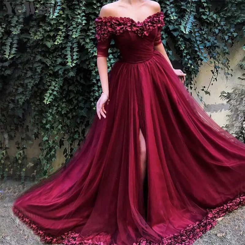Princess Burgundy   Prom     Dresses   With Half Sleeves Formal Evening Party Gowns Off Shoulder Handmade Flowers Front Split   Prom   Gowns