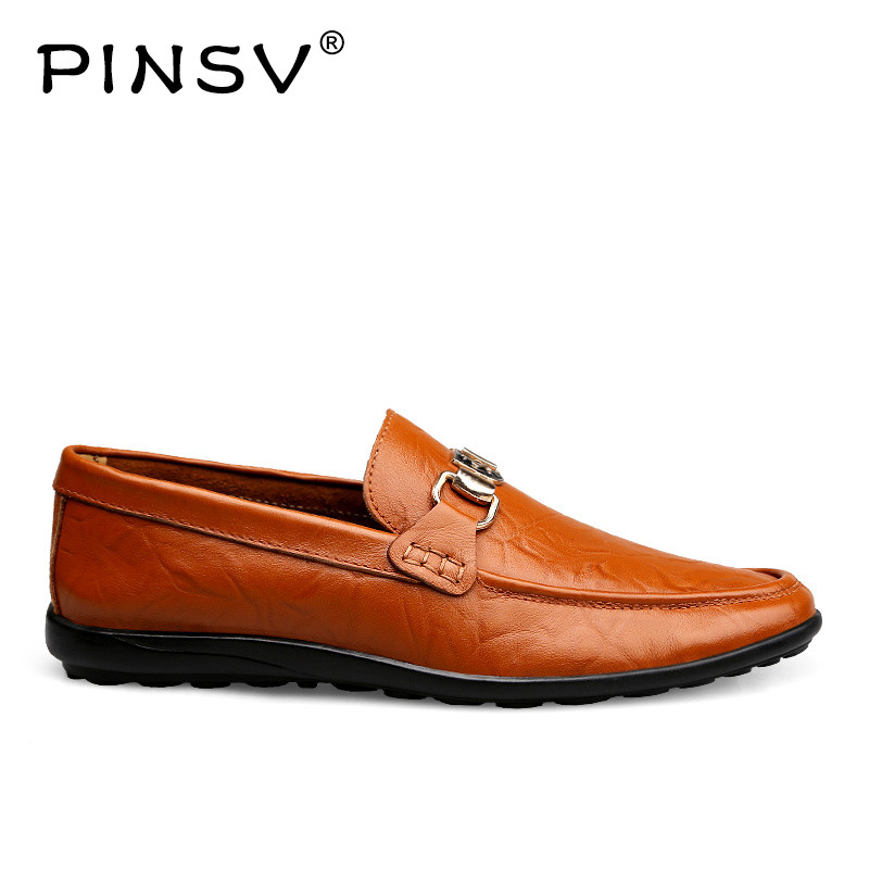 PINSV Comfortable Mens Shoes Casual Genuine Leather Shoes Male Breathable Slip On Flats New Fashion Mens