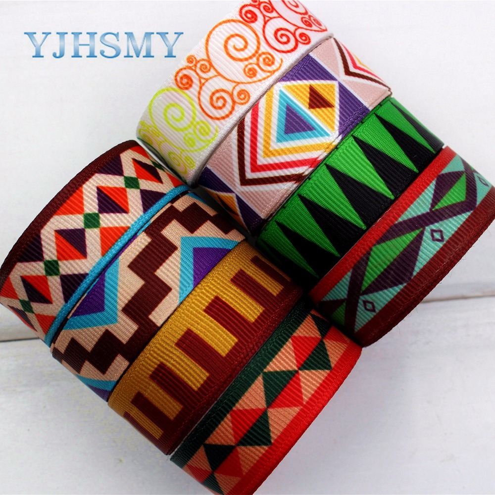 YJHSMY 174131,16mm geometry Printed grosgrain ribbon,DIY handmade,Wedding decoration materials, Valentines Day essential