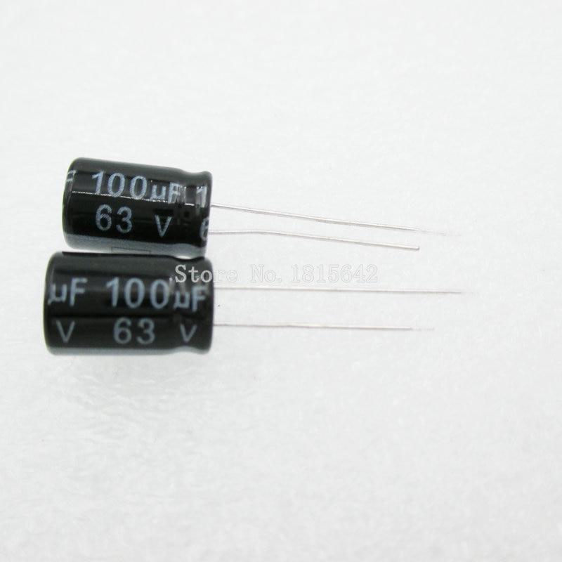 20 шт./лот 100 мкФ 63 в алюминиевый электролитический конденсатор 8х12 электролитический конденсатор 63 в 100 мкФ