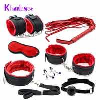 Khalesex 7 Pcs Set Fetish Sex Bondage Woman Slave Restraint Adult Sex Toys for Couples Handcuffs Nipple Clamps Whip Erotic Toys