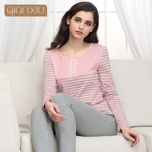 Qianxiu Pijama mujer For Women Knitted Cotton Lounge Wear Spring Sleepwear Suit