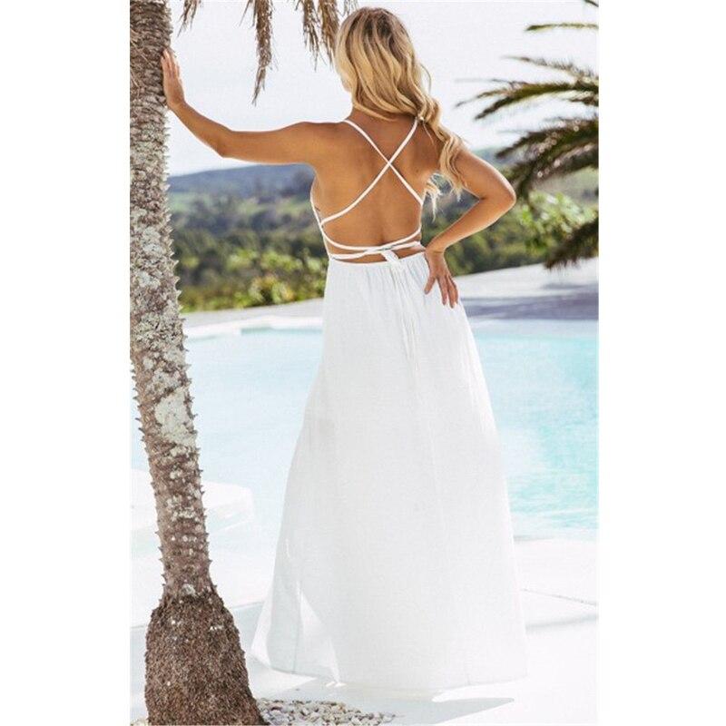 befe2277df Boho Women Long Dress Backless Halter V Neck Maxi Beach Bohemia Dresses  Sundress White Tee Neck Sleeveless Dress-in Dresses from Women's Clothing  ...