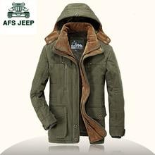 Afs Jeep New style 2016 Winter jacket men fleece thick jacket men's coat Plus Size L-4XL hooded long paka Cotton-Padded Jacket