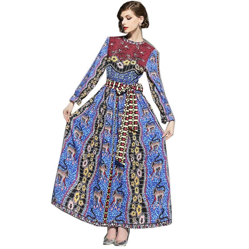 Manica Elegante Vestito Autunno Dalla Lunga Dress Vintage Donne Robe  Disegno Spiaggia Stampa Nazionale 2018 Blu Abiti ... 167776f9ad1