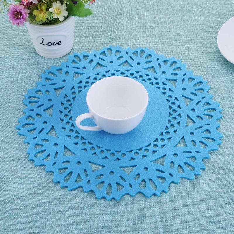 Colorful Modern Round Table Mat Felt Hollow Heat Resistant Non-Slip Kitchen Placemat Kitchen Dinner Table Mats 300 X 300 X 2 mm