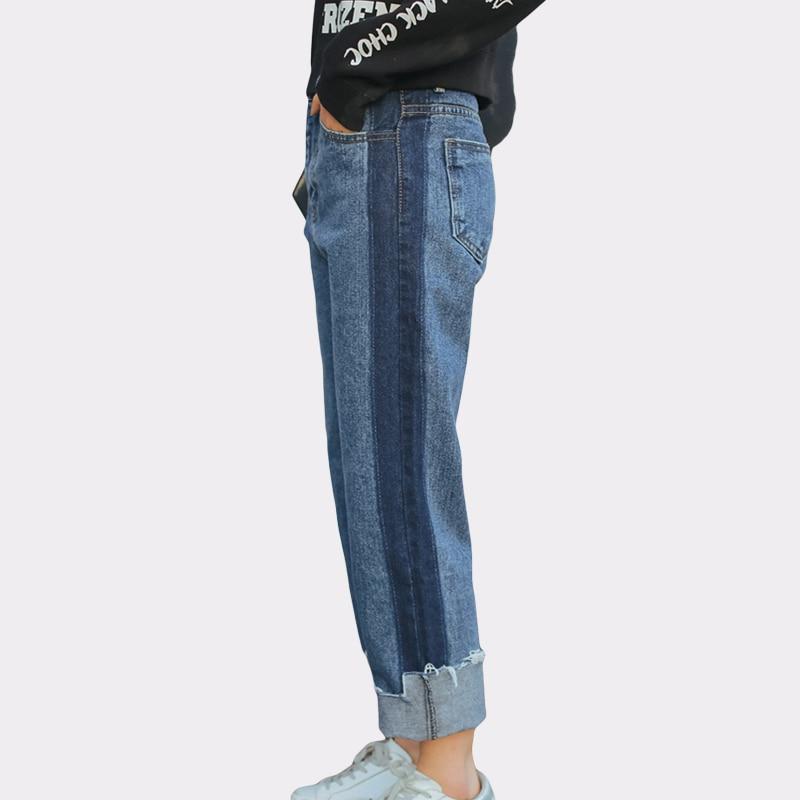 Korean Women Fashion Patchwork Full Length Panelled Jean High Waist Vintage Two-tone Jeans For Women Boyfriend Irregular Trouser s xxl korean fashion vintage jeans women casual denim pant 2017 spring summer high waist jean ladies panelled boyfriend pants