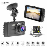 3.6 Inches Car Recorder DVR Vehicle-mounted USB Monitoring Double-lens Large View Rear View Mirror Camera Dual Lens Dash T2008