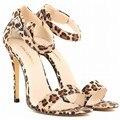 Loslandifen double bandas de serpiente patrón de leopardo hebilla del tobillo 11 cm stiletto talón del club de moda de verano caliente sexy bombas eur 35-42