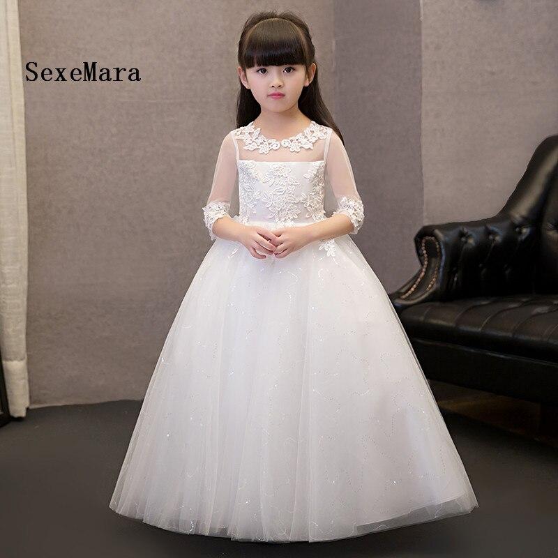 купить New White First communion dresses for girls Lace Three Quarter Sleeves Ball Gown Flower Girls Dresses for Wedding онлайн