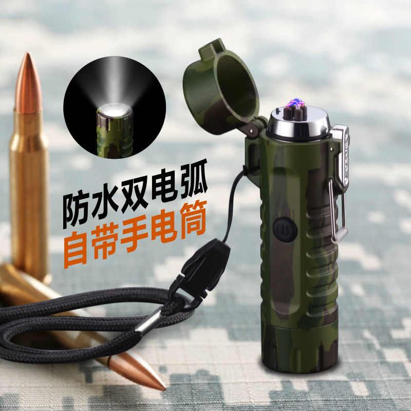 Фонарик USB плазменная зажигалка Прикуриватель камуфляжная Зажигалка водонепроницаемая ветрозащитная двойная дуга для мужчин кемпинг курить подарок