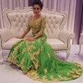 Elegante do Laço Do Ouro Apliques Dubai Abaya Kaftan Muçulmano Evening Vestidos Longo 2016 Plus Size Vestido Formal Vestido de Noite Vestidos Vestido de Festa