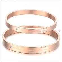 IP Rose Gold Hot Couples Lovers Jewelry 316L Stainless Steel Round Bracelet Bangle Words Crystal Mens