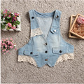 Best selling!! Free/fast shipping 2017 summer lace cording ladies vest sleeveless women denim vest female jean jacket