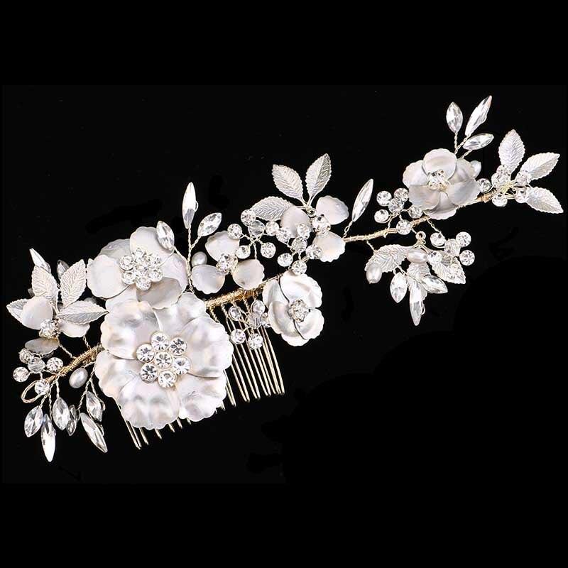 Hair Jewelry For Women Long Hair Combs With Headband Crystal Pearl Floral Leaf Haircomb Wedding Tiara Crown Bridal Hair Accessor