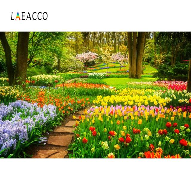Laeacco Spring Blossom Flower Floret Garden Way Outdoor Scenic Photo Backgrounds Photography Backdrops Photocall Photo Studio