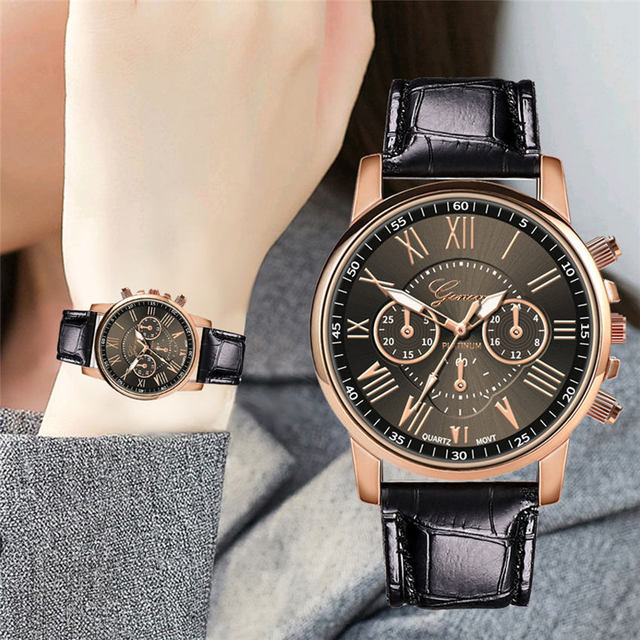 Luxury Brand Women Watch Leather Roman Numerals Big Dial Hour Analog Quartz Wris