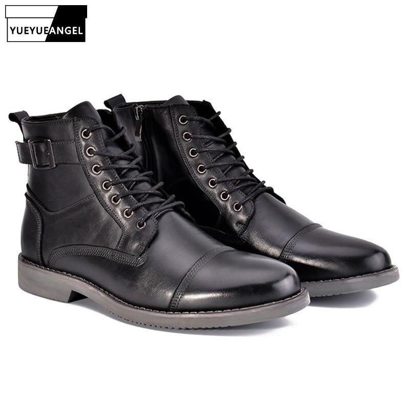 Segurança 1 Ankle Inverno Top Couro Do 3 De Homens Militares Fivela Sapatos Da Botas Alta Punk Boots Superior Dos 2 Rendas Até Forma Trabalho Qualidade Martin gqgrzEOwPx