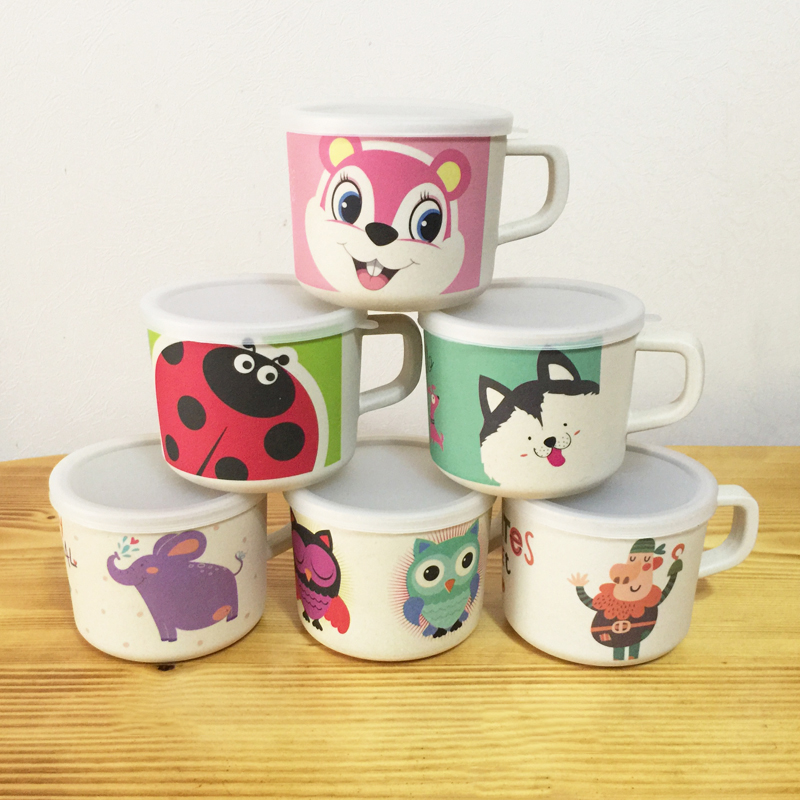 Baby Cups Bamboo Animal Cute Baby Drinkware With Handle Nature Safe  Material Kid Drinkware