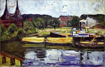 Modern painting abstract At the Holstentor by Edvard Munch High quality Hand painted