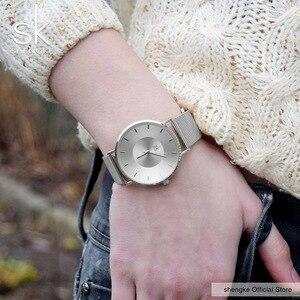 Image 3 - Shengke Simple Women Watches 2020 Ladies Wristwatch Ultra thin Quartz Watch Woman Sliver Ladies Watch Relogio Feminino SK
