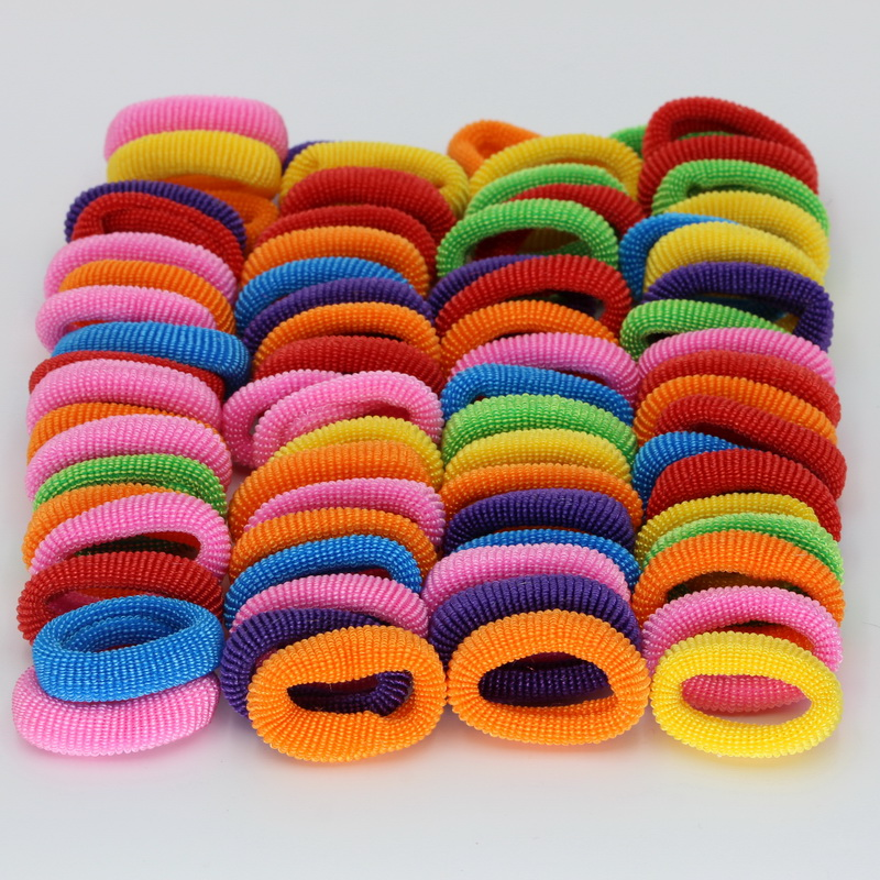 isnice 76pcs/lot Diameter 28mm kids cute Rainbow Color Gum For Hair Rubber bands hair accessories gum girl headband  ornaments