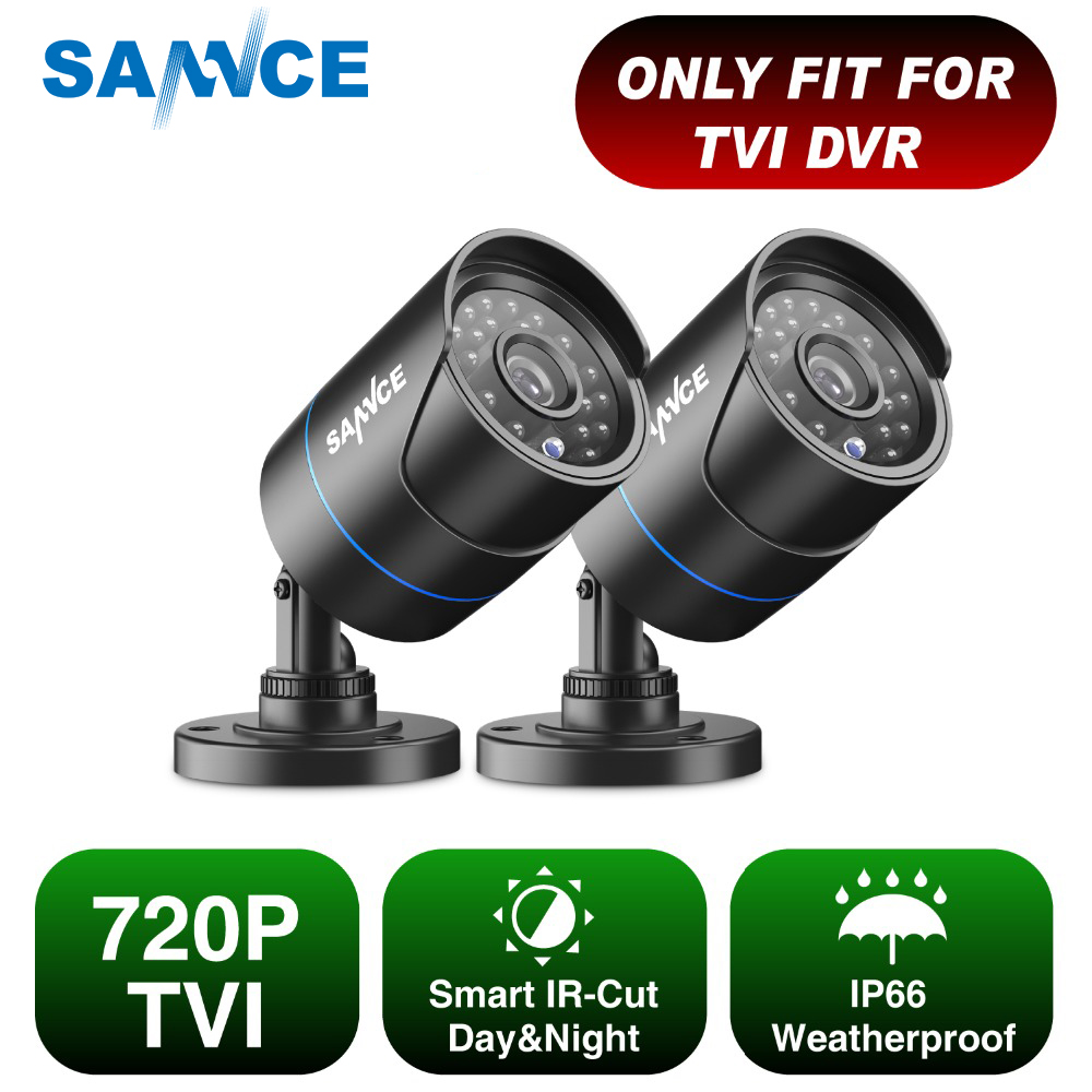 SANNCE 2pcs AHD 720P HD 1.0MP high resolution CCTV Security Cameras H.264 Waterproof Indoor/ Outdoor Surveillance Cameras setSANNCE 2pcs AHD 720P HD 1.0MP high resolution CCTV Security Cameras H.264 Waterproof Indoor/ Outdoor Surveillance Cameras set