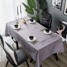 Light luxury customization Simple waterproof tablecloth Velvet ins party table mat Chenille coffee dressing cover