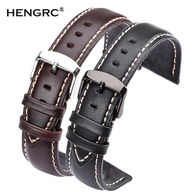 Handmade Genuine Leather Watchbands 18 19 20 21 22 24mm Black Dark Brown VINTAGE