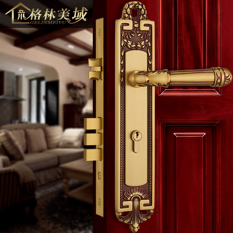 все цены на European full copper door lock pure copper interior door lock bedroom solid wood door lock American handle lock