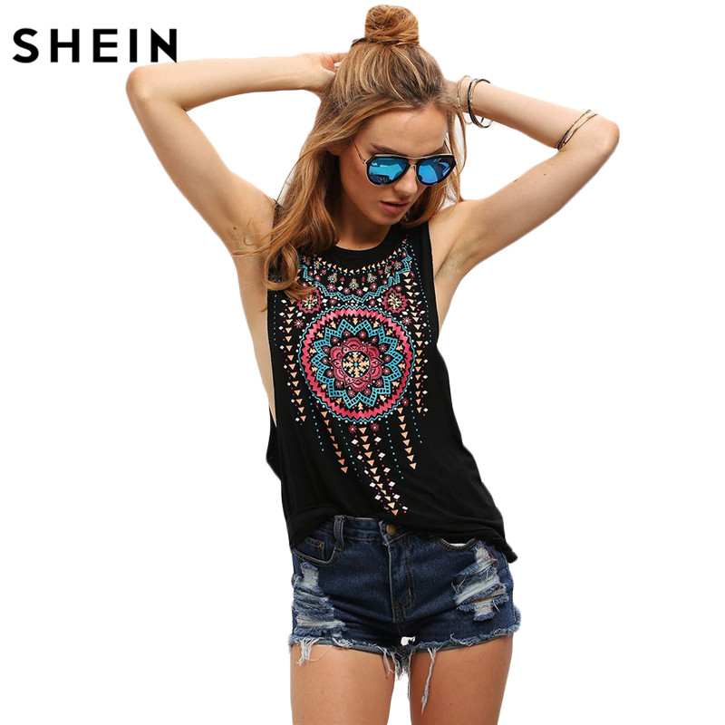 SHEIN New Summer Style Black Women Sexy Tops Round Neck Sleeveless Vintage Tribal Print Fitness Casual