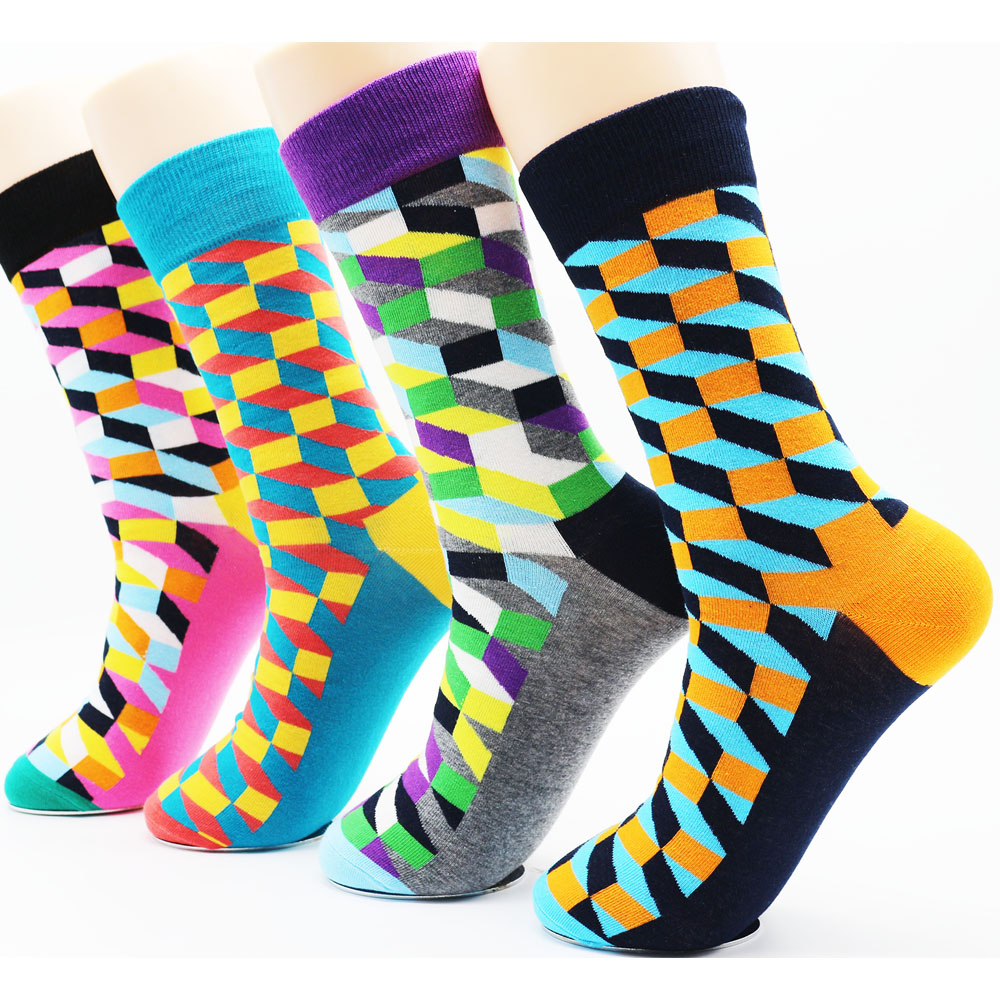 New mens colorful dress cotton socks Funky high quality fashion casual man long socks (4 pairs)
