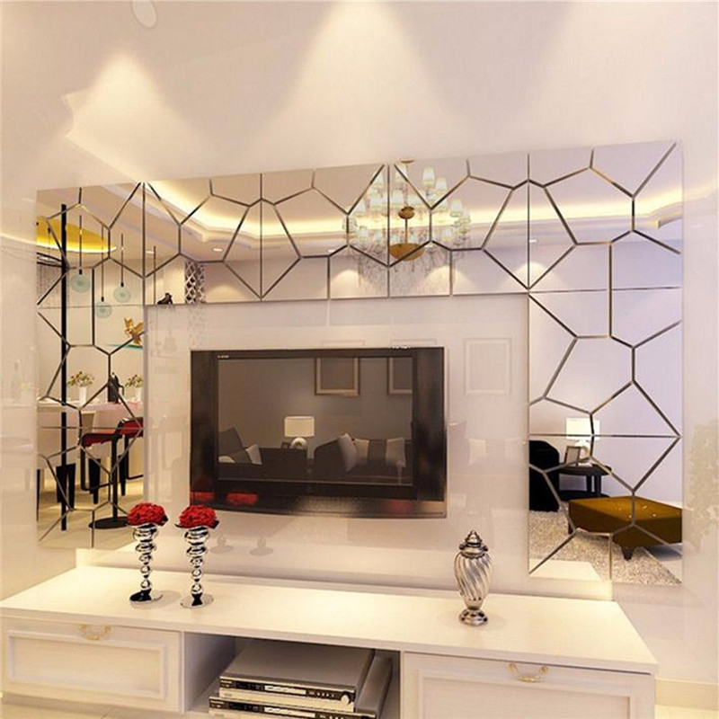 New Style 7Pcs 1818cm Moire Pattern Quare Mirror Tile Wall Stickers 3D Decal Mosaic