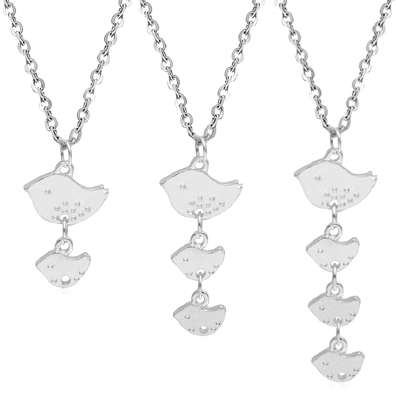 The New Trendy Charm Female Jewelry Fashion Simple Mom and Kid Birds Pendant Neckalce Mother's Day Gift Women Necklace