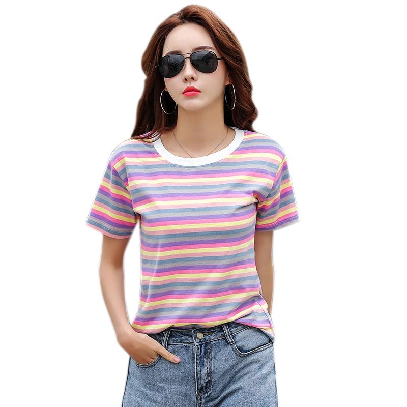 New T Shirt Women Rainbow Striped Tops Harajuku Tshirt 2019 Summer Short Sleeve Korean Punk T-shirt camiseta feminina S-2XL