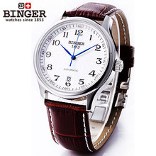 Binger fashion waterproof mens big digital watch leather strap mechanical watches vintage automatic business simple wristwatches