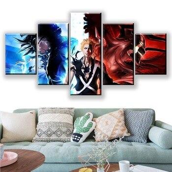 Impresiones de alta definición para decoración del hogar lienzo 5 piezas Bleach Poster animación pintura pared imagen modular artística marco para la sala de estar