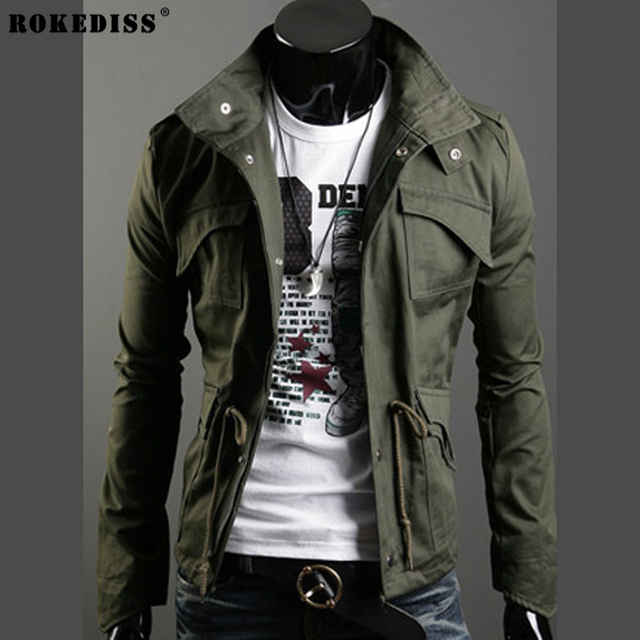 ROKEDISS Military Jacket Men Military Style Jackets Mens Army ...