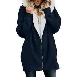 Winter Women Hoodies Long Coat casaco feminino Solid Zipper Casual Female Jacket chaqueta mujer Hoody Ladies Tops Plus Size 4